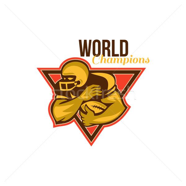 Americano fútbol ejecutando atrás mundo ilustración Foto stock © patrimonio