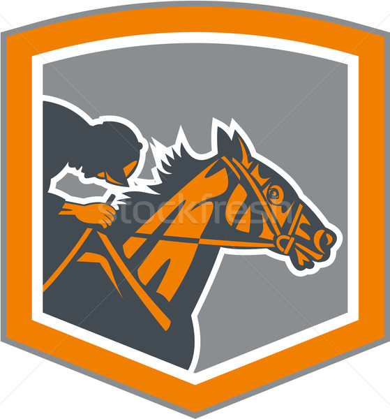 Jockey Horse Racing Shield Retro Stock photo © patrimonio