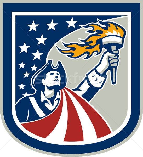 Amerykański patriota pochodnia banderą tarcza Zdjęcia stock © patrimonio