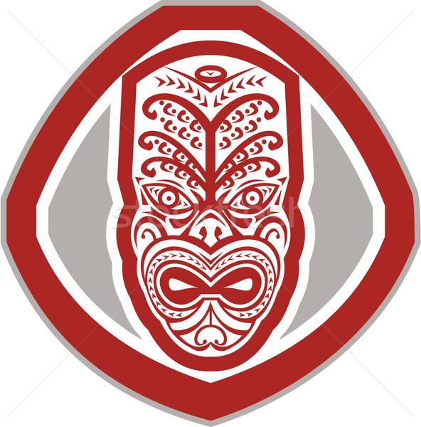 Maori Mask Face Front Shield Retro Stock photo © patrimonio