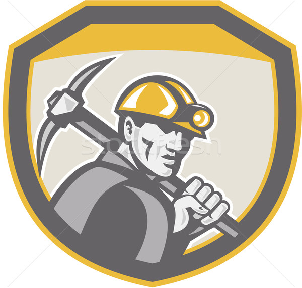 Coal Miner Hardhat Holding Pick Axe Shield Retro Stock photo © patrimonio