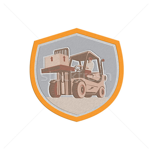 MetallicForklift Truck Materials Handling Logistics Shield Stock photo © patrimonio