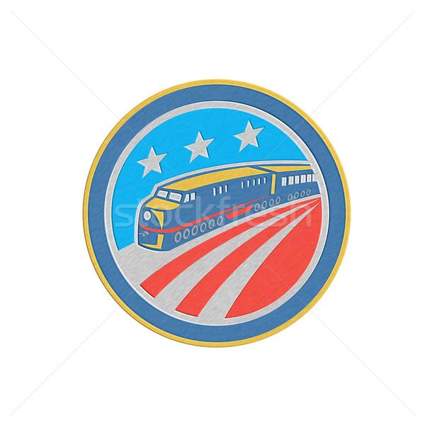 Metálico vapor trem locomotiva retro escudo Foto stock © patrimonio