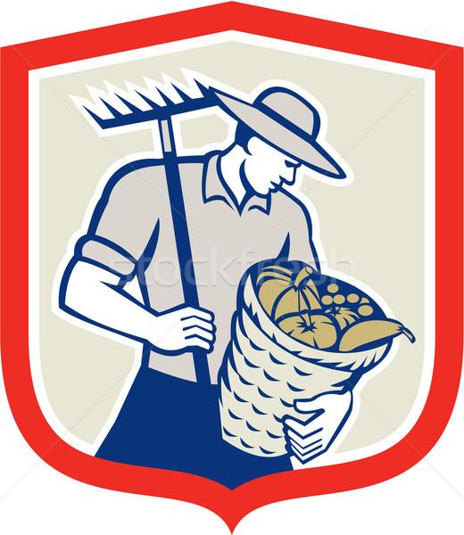 Organikus gazda gereblye aratás kosár retro Stock fotó © patrimonio