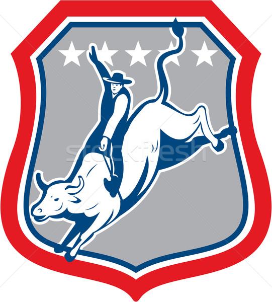 アメリカン ロデオ カウボーイ 牛 ライディング 漫画 ストックフォト © patrimonio