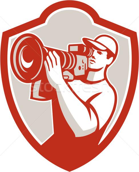 Cameraman Vintage Movie Camera Shield Retro Stock photo © patrimonio