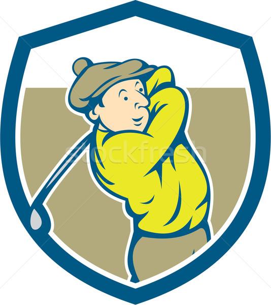 Golfer Swinging Club Shield Cartoon Stock photo © patrimonio