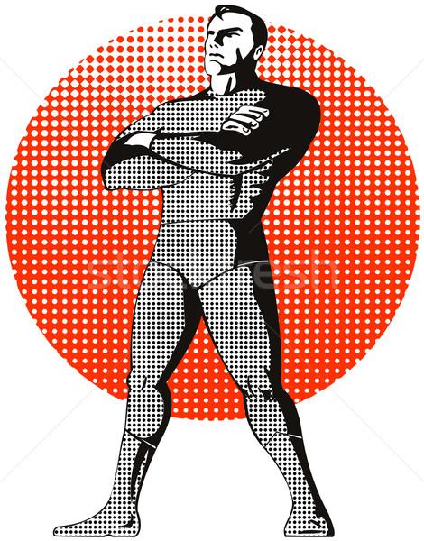 Superhero standing upright arms folded Stock photo © patrimonio