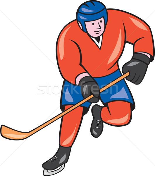 Jégkorong játékos bot rajz illusztráció jégkorong Stock fotó © patrimonio