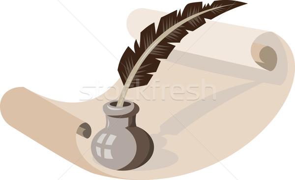 Quill Pen Ink Well Paper Scroll Retro Stock photo © patrimonio