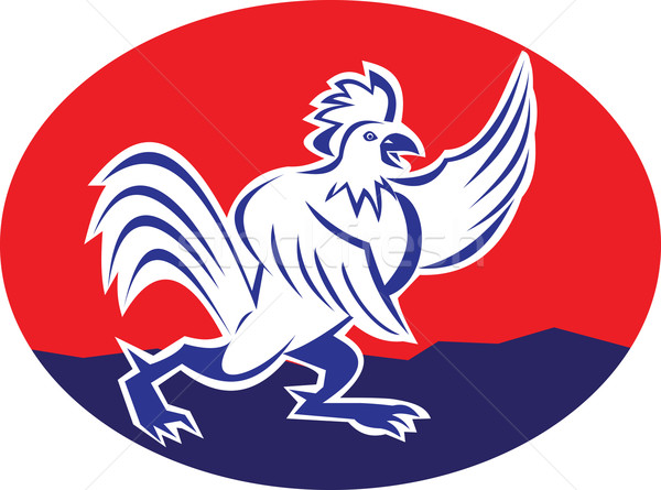 Rooster Chicken Pointing Wing Cartoon Stock photo © patrimonio