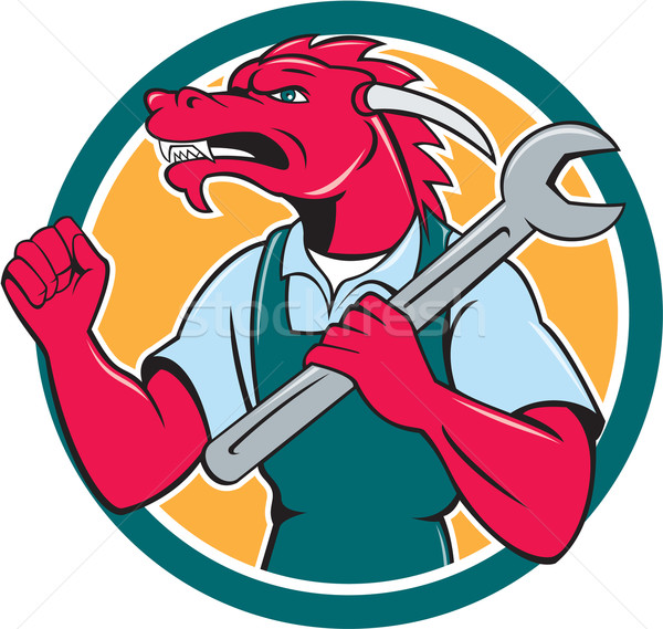 Red Dragon Mechanic Spanner Fist Pump Circle Stock photo © patrimonio
