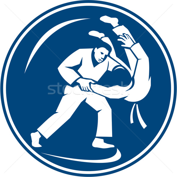 Judo daire ikon örnek ayarlamak içinde Stok fotoğraf © patrimonio