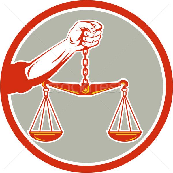 Mão balança círculo retro ilustração Foto stock © patrimonio