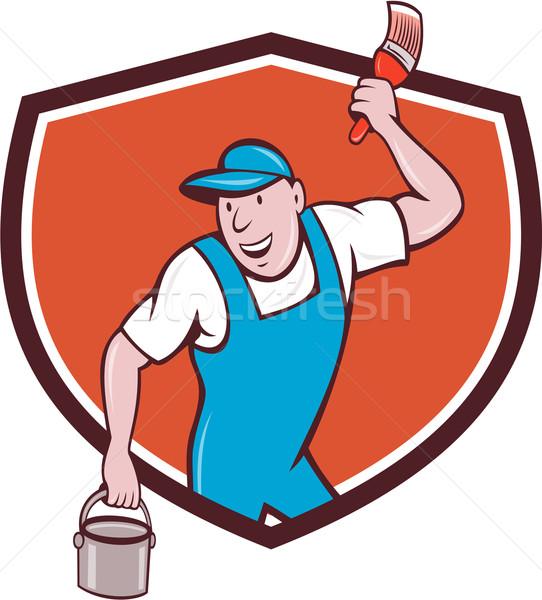 Huis schilder penseel verfemmer kuif cartoon Stockfoto © patrimonio