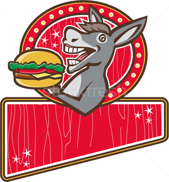 Stock photo: Donkey Mascot Serve Burger Rectangle Retro