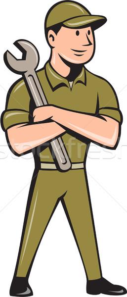 механиком гаечный ключ Cartoon иллюстрация работник Сток-фото © patrimonio