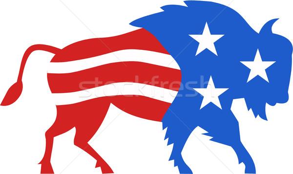 North American Bison USA Flag Retro Stock photo © patrimonio