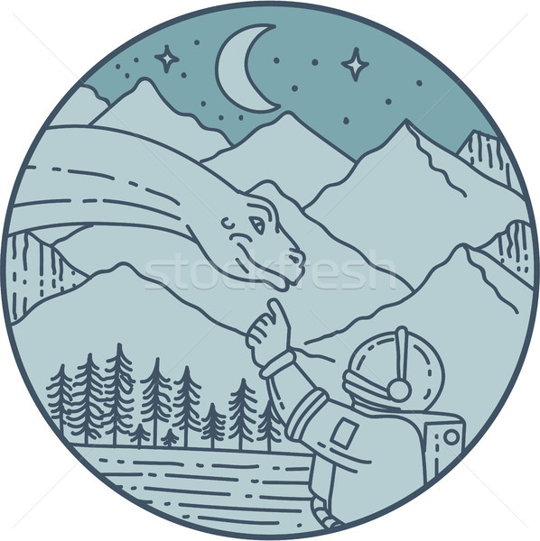 Astronaut Brontosaurus Moon Stars Mountains Circle Mono Line Stock photo © patrimonio