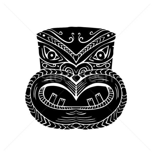 New Zealand Maori Koruru Tiki Mask Woodcut Stock photo © patrimonio