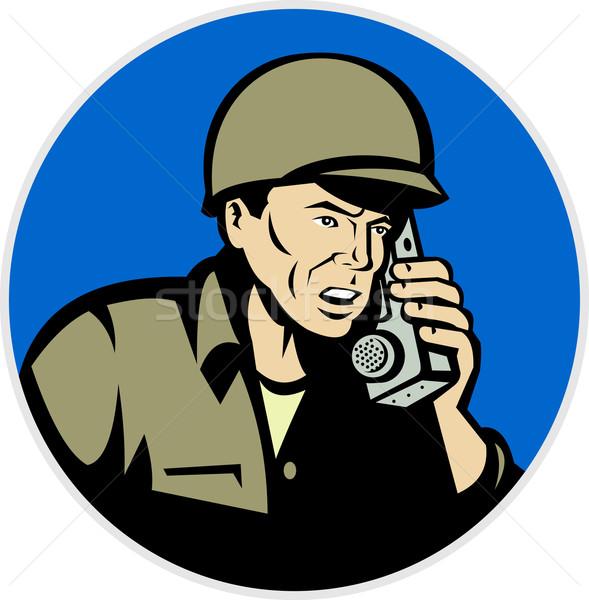 world war two soldier talking radio walkie talkie Stock photo © patrimonio