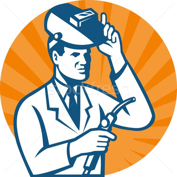 Scientifique chercheur soudage lampe de poche illustration Photo stock © patrimonio