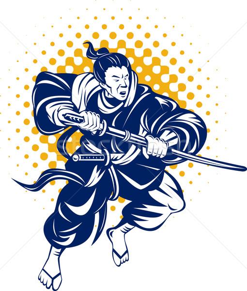 Japonês samurai guerreiro ilustração espada Foto stock © patrimonio