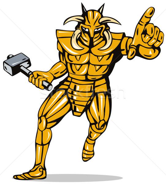 Bösewicht Ritter Rüstung Hammer Illustration fremden Stock foto © patrimonio