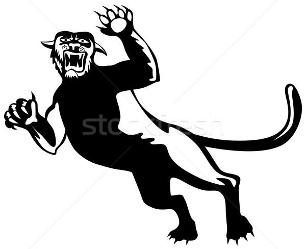 Panther иллюстрация черный изолированный белый ретро-стиле Сток-фото © patrimonio