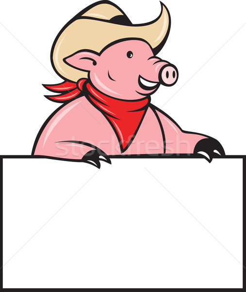 Cowboy pig hog holding blank sign Stock photo © patrimonio