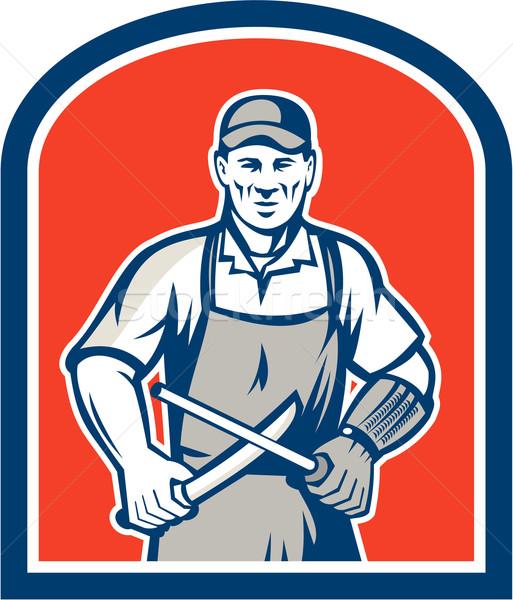 Butcher Sharpening Knife Shield Stock photo © patrimonio