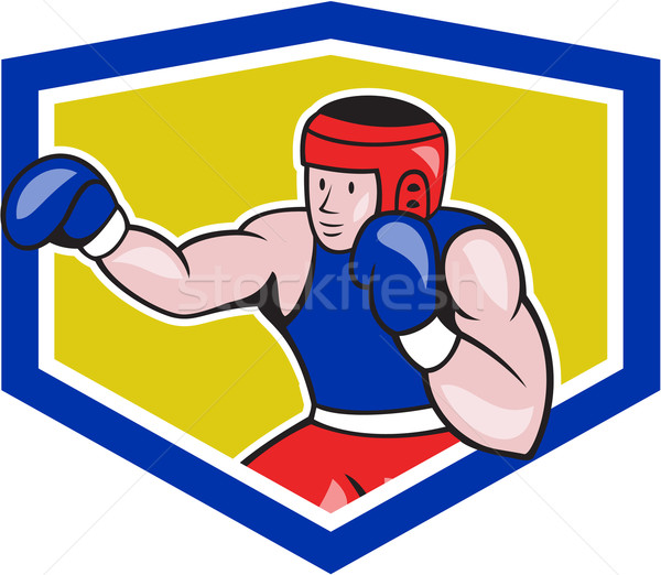 Amatoriale boxer boxing scudo cartoon illustrazione Foto d'archivio © patrimonio