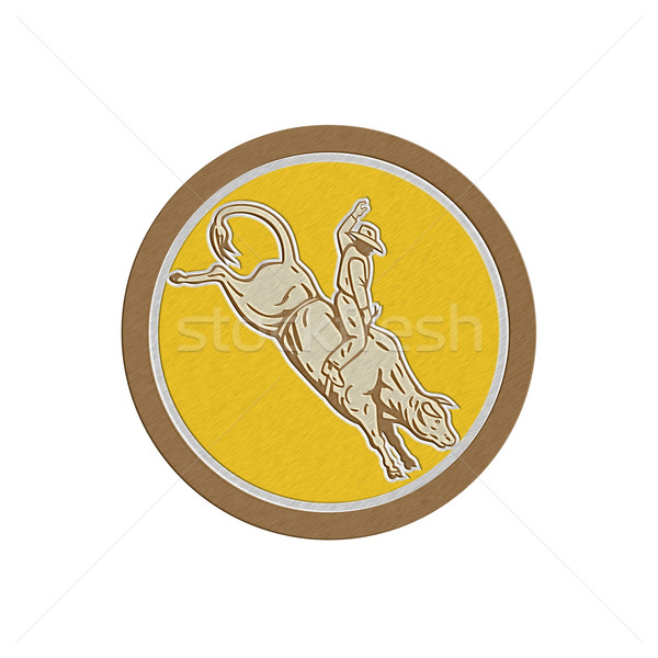Metallic Rodeo Cowboy Bull Riding Retro Circle Stock photo © patrimonio