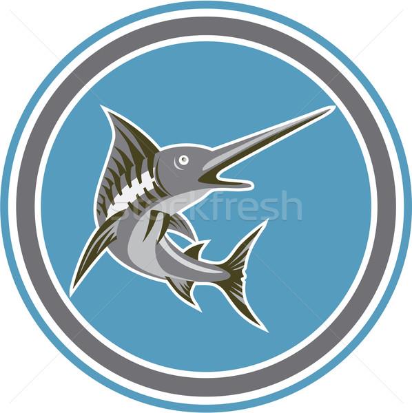青 魚 ジャンプ サークル レトロな 実例 ストックフォト © patrimonio