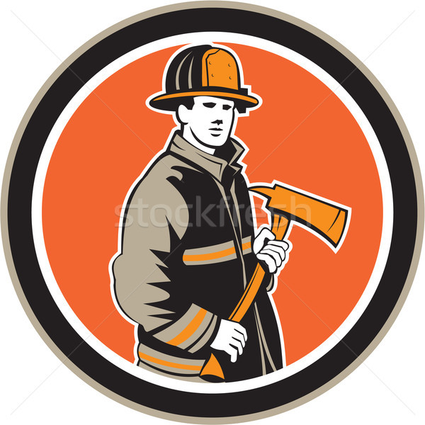 Fireman Firefighter Holding Fire Axe Circle Stock photo © patrimonio