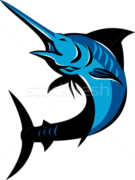 Blauw vis springen retro illustratie geïsoleerd Stockfoto © patrimonio