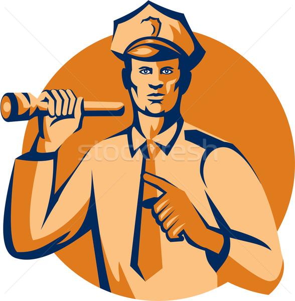 Policía antorcha senalando retro ilustración Foto stock © patrimonio