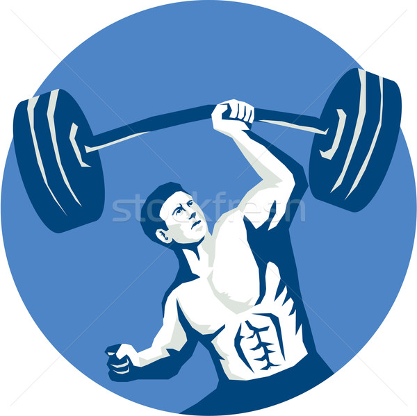 Strongman Lifting Barbell One Hand Stencil Stock photo © patrimonio
