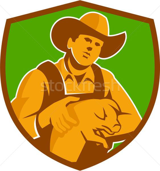 Pig Farmer Holding Piglet Front Shield Retro Stock photo © patrimonio