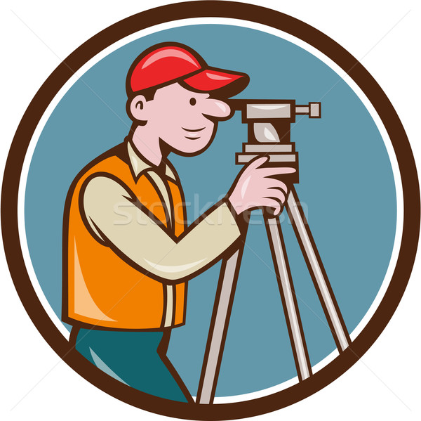Surveyor Geodetic Engineer Theodolite Circle Cartoon Stock photo © patrimonio