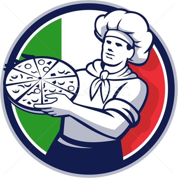 Pizza Chef Holding Pizza Italy Flag Circle Retro Stock photo © patrimonio