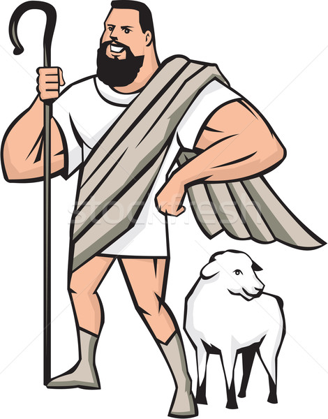 Superhero Shepherd Sheep Standing Cartoon Stock photo © patrimonio