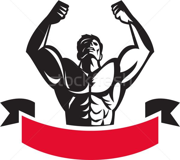 Body Builder Flexing Muscles Banner Retro Stock photo © patrimonio
