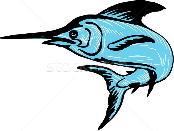 Blue Marlin Fish Jumping Drawing Stock photo © patrimonio
