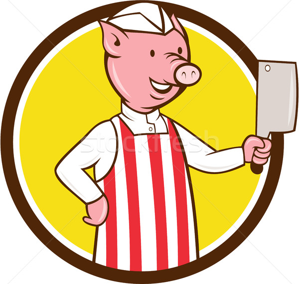 Butcher Pig Holding Meat Cleaver Circle Cartoon Stock photo © patrimonio