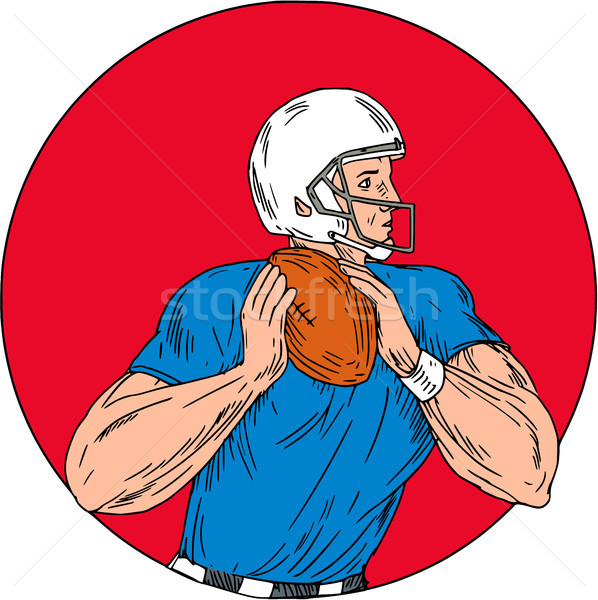 American Football Quarterback Ready Throw Ball Circle Drawing Stock photo © patrimonio