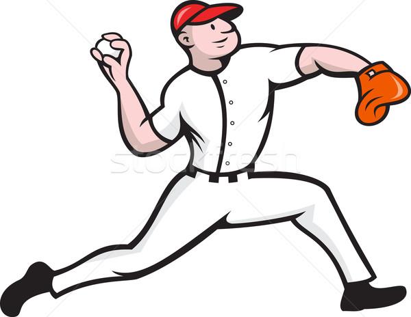 Beisebol jogador desenho animado ilustração jogador de beisebol Foto stock © patrimonio