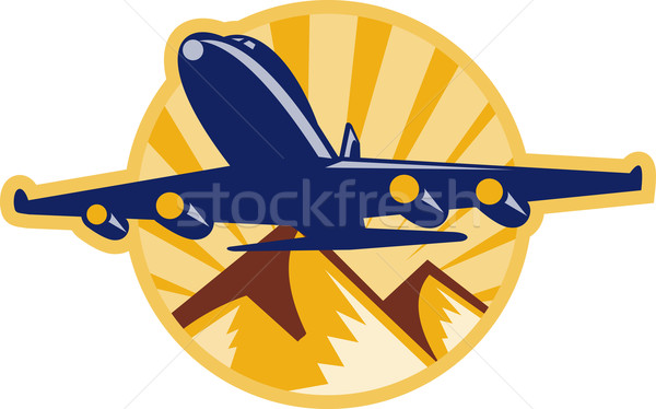 propeller airplane flying with mountains Stock photo © patrimonio