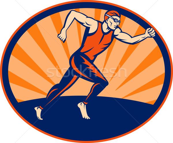 Triathlon atleta corredor corrida ilustração assinar Foto stock © patrimonio