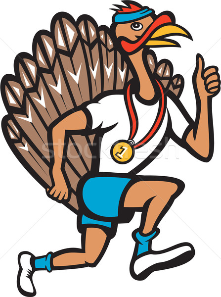 Turkey Run Runner Thumb Up Cartoon Stock photo © patrimonio